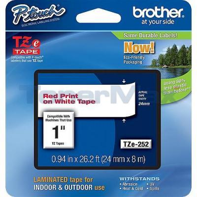BROTHER TZ LAMINATED TAPE RED ON WHITE 0.94 IN X 26.2 FT
